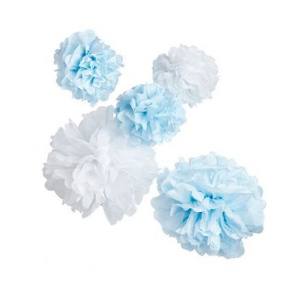 Baby Shower Pom Poms - Blue & White